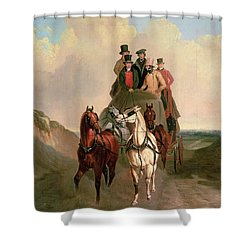 A Coach And Four On An Open Road  Shower Curtain by William Snr Shayer