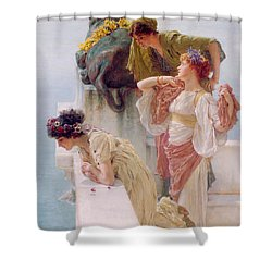 A Coign Of Vantage Shower Curtain by Sir Lawrence Alma-Tadema