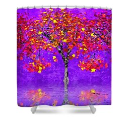 A Colorful Autumn Rainy Day Shower Curtain