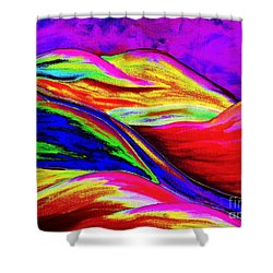 Shower Curtain featuring the painting A Colorful World by Annie Zeno