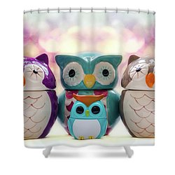 A Colourful Parliament Of Owls Shower Curtain by Martina Fagan