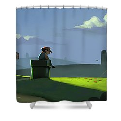 Shower Curtain featuring the painting A Contemplative Plumber by Michael Myers