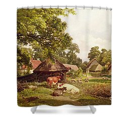 A Cottage Home In Surrey Shower Curtain by Edward Henry Holder