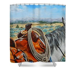 A Cowboy's View Shower Curtain