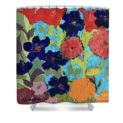 Shower Curtain featuring the painting A Dandelion Weed Making It's Way In The Garden by Robin Maria Pedrero