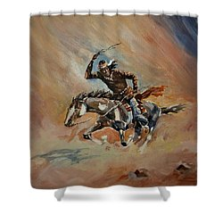 A Dash For Cover Racing Oncoming Sandstorm   Shower Curtain