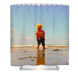 Shower Curtain featuring the painting A Day At The Beach by Chris Armytage