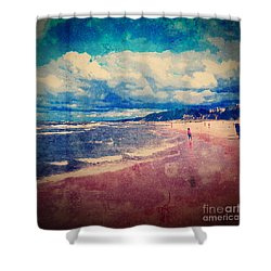 Shower Curtain featuring the photograph A Day At The Beach by Phil Perkins