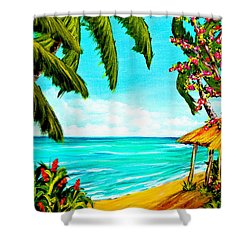 A Day In Paradise Hawaii Beach Shack  #360 Shower Curtain by Donald k Hall