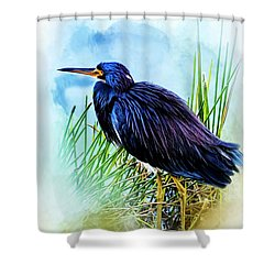 A Day In The Marsh Shower Curtain by Cyndy Doty