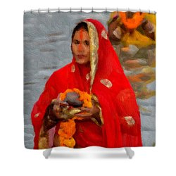 A Devotee  Shower Curtain