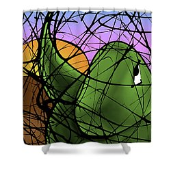 A Dinomite Sunset Shower Curtain