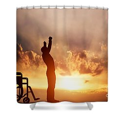 A Disabled Man Standing Up From Wheelchair Shower Curtain
