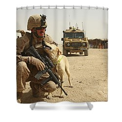 A Dog Handler Posts Security With An Shower Curtain by Stocktrek Images