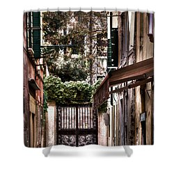 Shower Curtain featuring the photograph A Doorway In Venice With Oil Effect by Tom Prendergast
