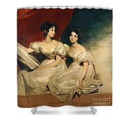 A Double Portrait Of The Fullerton Sisters Shower Curtain by Sir Thomas Lawrence
