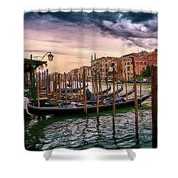 Vintage Buildings And Dramatic Sky, A Dreamlike Seascape In Venice Shower Curtain