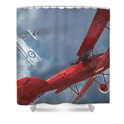 A Duel Begins - The Red Baron Shower Curtain by David Collins