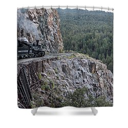 Shower Curtain featuring the photograph A Durango And Silverton Narrow Gauge Scenic Railroad Train Along A San Juan Mountains Precipice by Carol M Highsmith