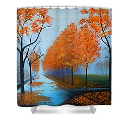 A Fall Morning Shower Curtain