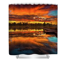 A Fall Sunrise Shower Curtain by John De Bord