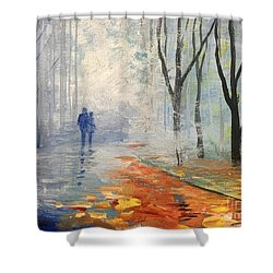 Shower Curtain featuring the painting A Fall Walk by Trilby Cole