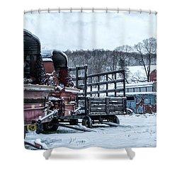 A Farmers Winter Shower Curtain