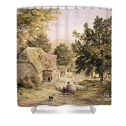 A Farmyard Near Princes Risborough Shower Curtain by Samuel Palmer
