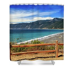 Shower Curtain featuring the photograph A Fence On The Lost Coast by James Eddy