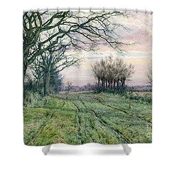 A Fenland Lane With Pollarded Willows Shower Curtain by William Fraser Garden
