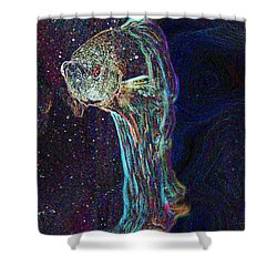 A Fish Called Poe Shower Curtain by Julie Niemela