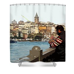 A Fisherman In Istanbul Shower Curtain