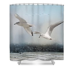 A Fishin' On The River Shower Curtain