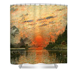 A Fjord Shower Curtain by Adelsteen Normann