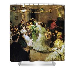 A Flamenco Party At Home Shower Curtain by Francis Luis Mora