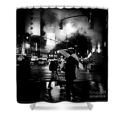 A Foggy Night In New York Town - Checkered Umbrella Shower Curtain
