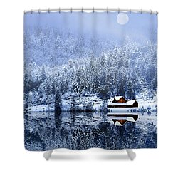 Shower Curtain featuring the photograph A Foggy Winter Night by Diane Schuster