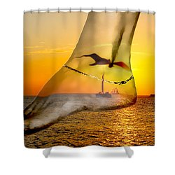 A Foot In The Sunset Shower Curtain