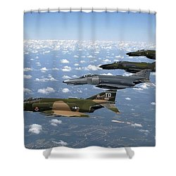 A Formation Of F-4 Phantom II Fighter Shower Curtain by Stocktrek Images