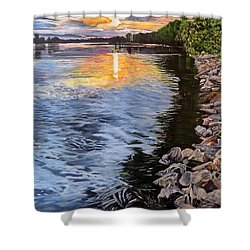 A Fraser River Sunset Shower Curtain
