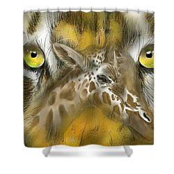 Shower Curtain featuring the digital art A Friend For Lunch by Darren Cannell
