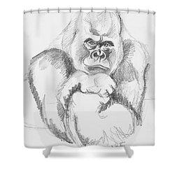 A Friendly Gorilla Shower Curtain by John Keaton