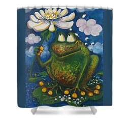 Frog In The Rain Shower Curtain by Rita Fetisov