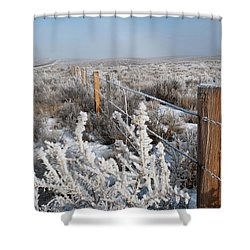 Shower Curtain featuring the photograph A Frosty And Foggy Morning On The Way To Steamboat Springs by Cascade Colors