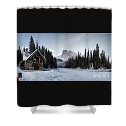 A Frozen Emerald Lake Morning Shower Curtain by Brad Allen Fine Art