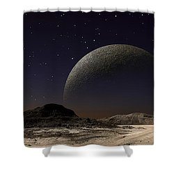 A Futuristic Space Scene Inspired Shower Curtain by Frank Hettick
