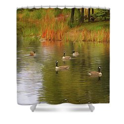 A Gaggle Of Geese Shower Curtain by Cedric Hampton