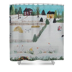 A Gaggle Of Geese Shower Curtain by Virginia Coyle