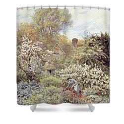 A Garden In Spring Shower Curtain by Helen Allingham
