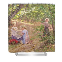 A Garland Of Flowers Shower Curtain by Frigyes Friedrich Miess